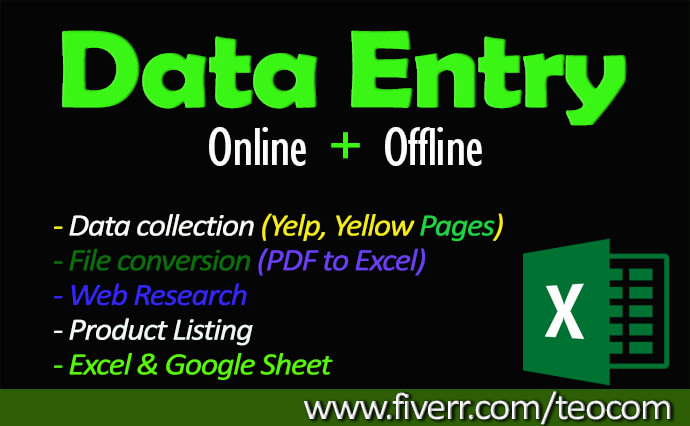 I will data entry,  manual data entry typing work,  convert PDF to word,  data collection