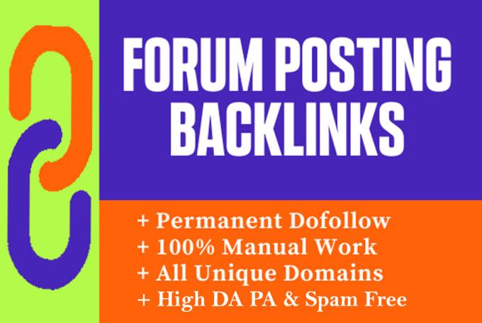 I will make 50 manual HQ forum posting backlinks on high da forums