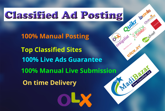 I will post your ads manually on USA top rank classified ad sites