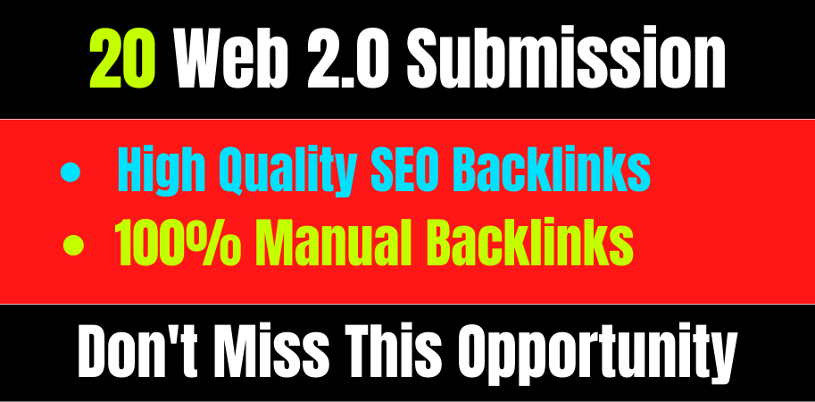 I will Provide high quality 20 manually web2.0 submission off page seo backlinks