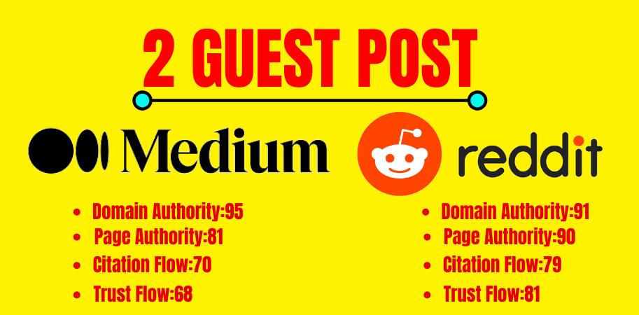 Write and Publish medium & Reddit Guest Posts domain authority 90 plus
