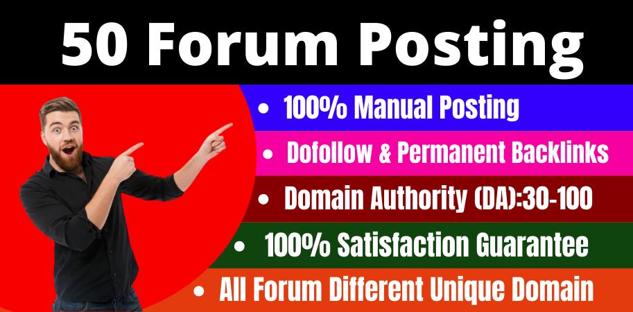 Manually Create 50 forum posting high quality da & PA off page seo permanent linkbuilding
