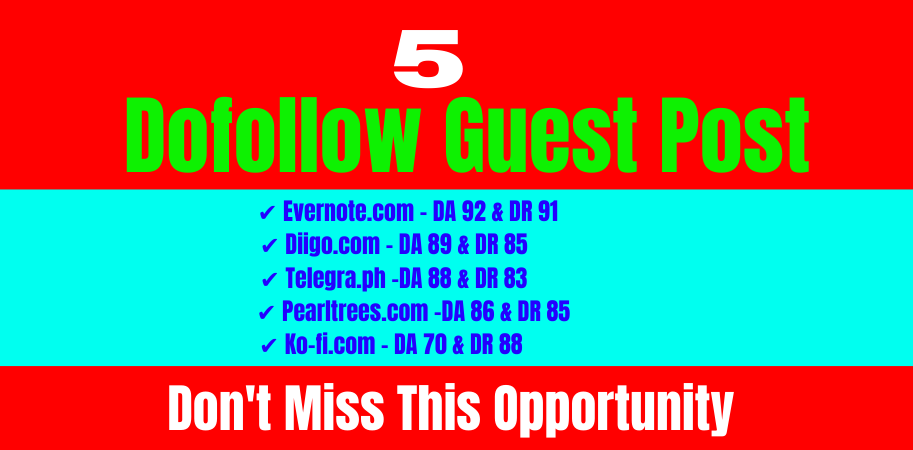 I will provide write and publish high quality 5 guest blog posts da80+ dofollow links