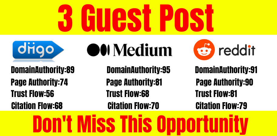 I will do write and publish high-quality 3 guest posts on da90 plus