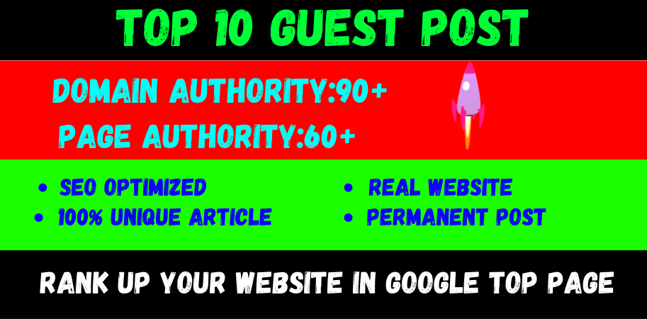 write and publish 10 high quality guest post DA 90+ websites