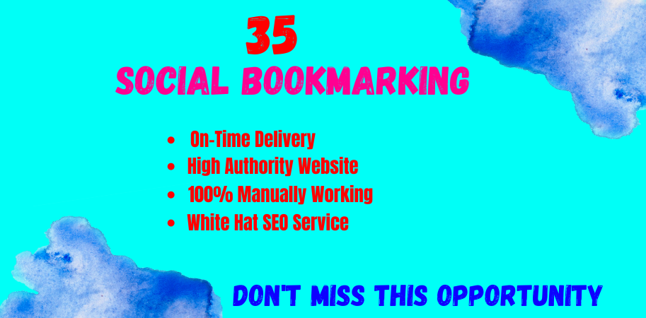 Manually Create 35 Instant Social Bookmarks Delivery within 3 day