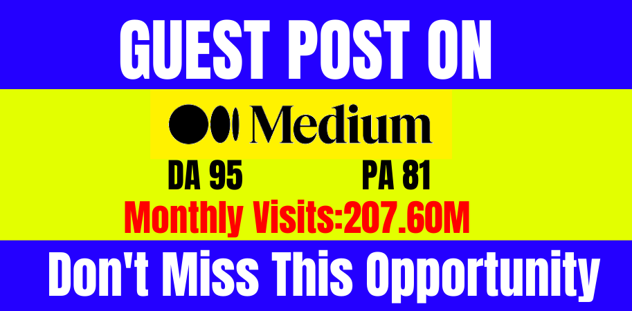 I will do write and publish guest post medium. com DA-95,  index guarantee within 24 hours