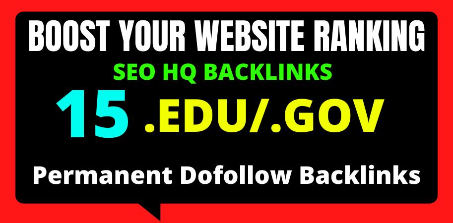 I will create 15 Edu/Gov high quality off page seo backlinks 2021