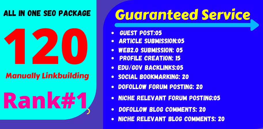 All In One Off-Page Seo Package Get 120 High Quality Backlinks 2021