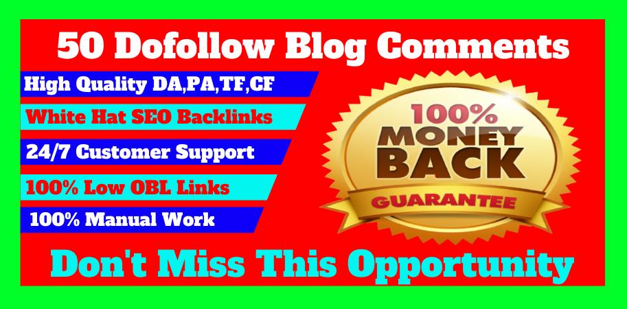 I will manually create 50 dofollow blog comments seo backlinks