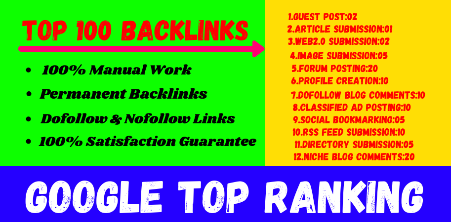 Get 100 persent TOp Ranking on Google with my Perfect seo Linkbuilding All in one package 2021