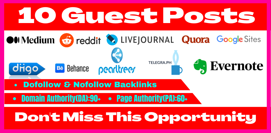 I will write and publish 10 high da90+ guest post with permanent off page seo backlinks