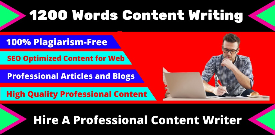 1200 Words Quality SEO Optimized Article Writing or content writing on any topic