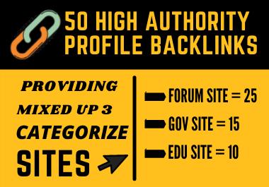 Create 50 High Authority Forum,  Gov & Edu Mixed Profile Backlinks