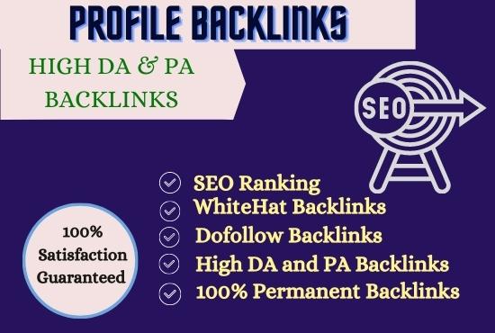 I will Do 70 High Domain authority SEO profile backlinks.