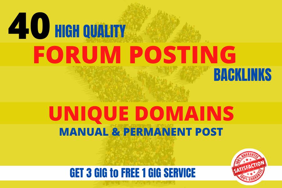 I will provide 40 forum posting backlinks high quality