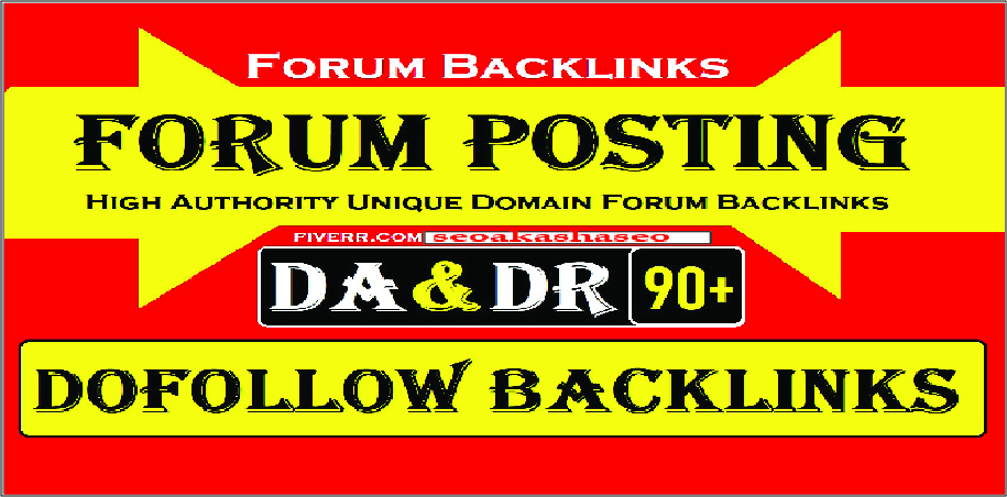 DOFOLLOW 40 Forum backlinks DA 20-80+ for Search Rankings