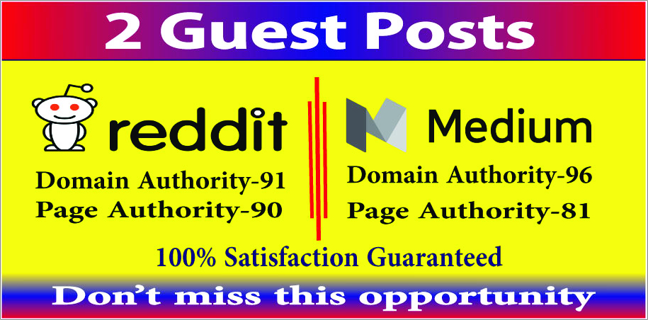 Publish 2 guest post high DA-90 PA-90 medium reddit site