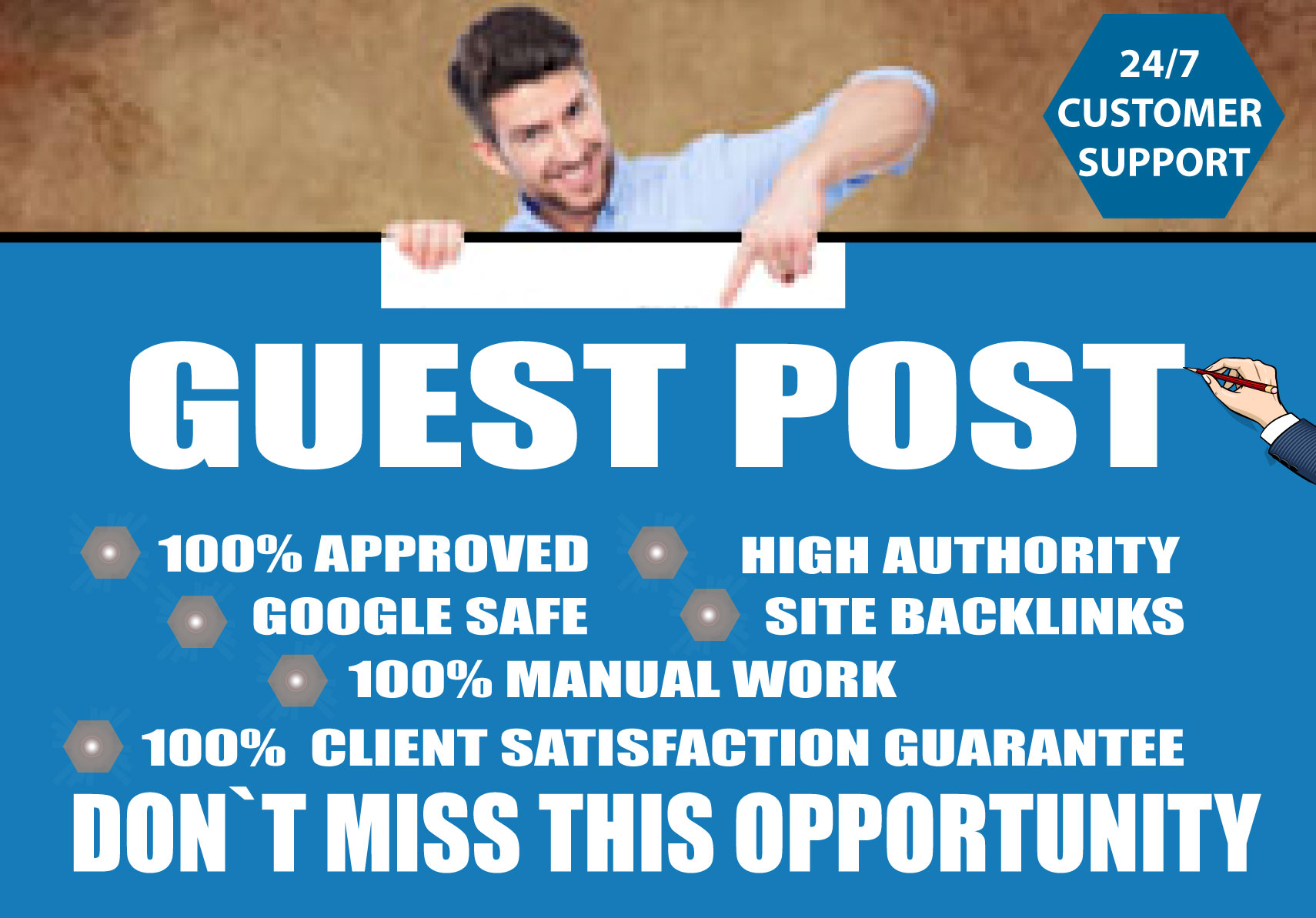 I Will Write and publish 6 guest post on high DA 65 to 80 websites