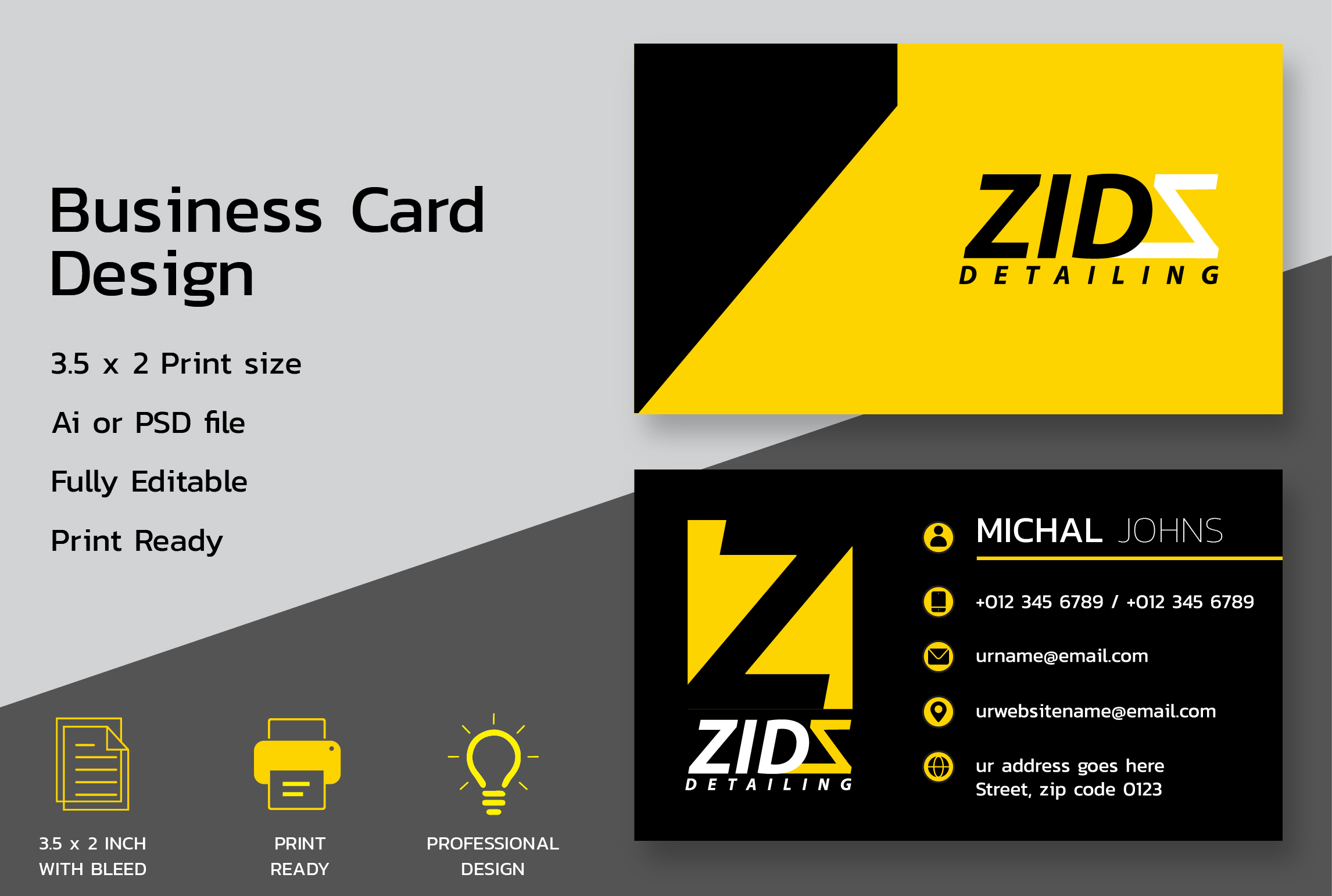 I will create professional business card design ready for print