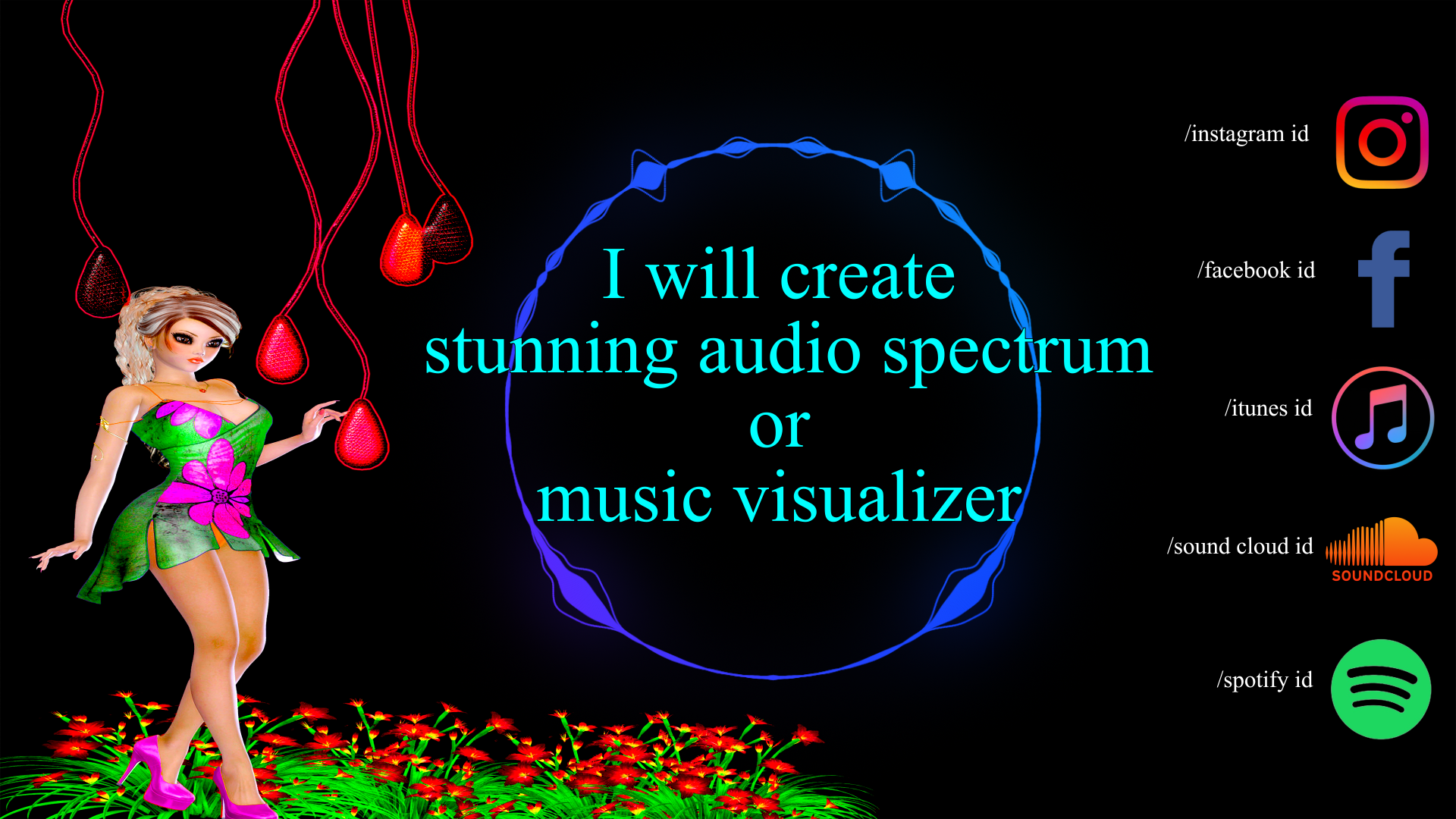 I can create stunning audio spectrum or music visualizer
