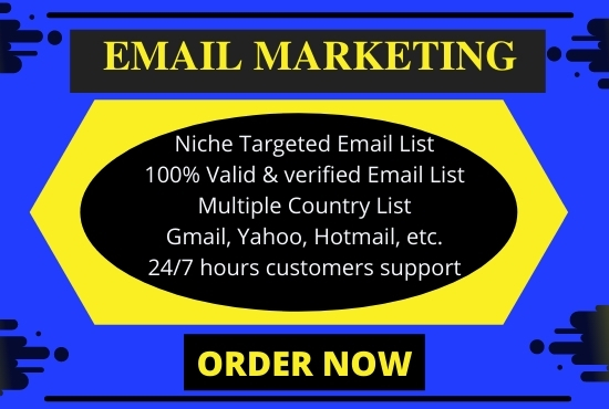 I will Provide 5000 Niche Targeted Active and Verified Email list for Email Marketing