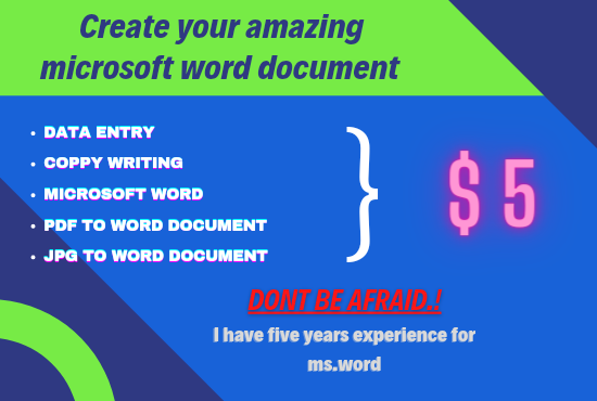 Create your amazing microsoft word document