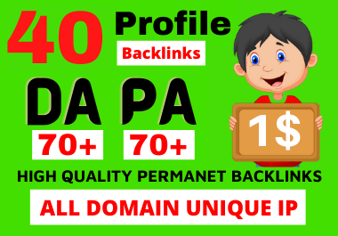 I will build your website link 40 Dofollow Profile Backlinks Or Social Profiles