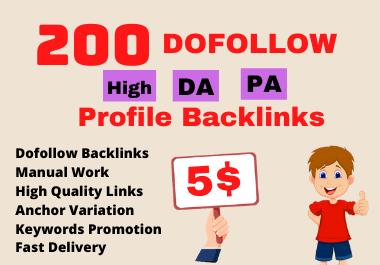I will create 200 High DA PA Profile Backlinks manually