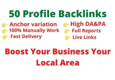 Manually create 50 High authority SEO profile backlinks