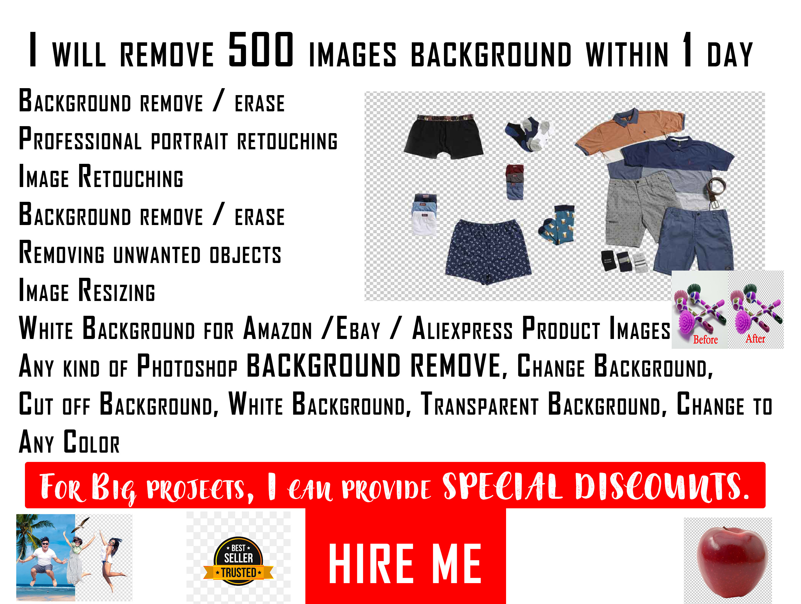 Photoshop editing background removal of 500 images 12 hours