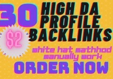 2021 manually create 30 High Da Profile Backlinks 60plus