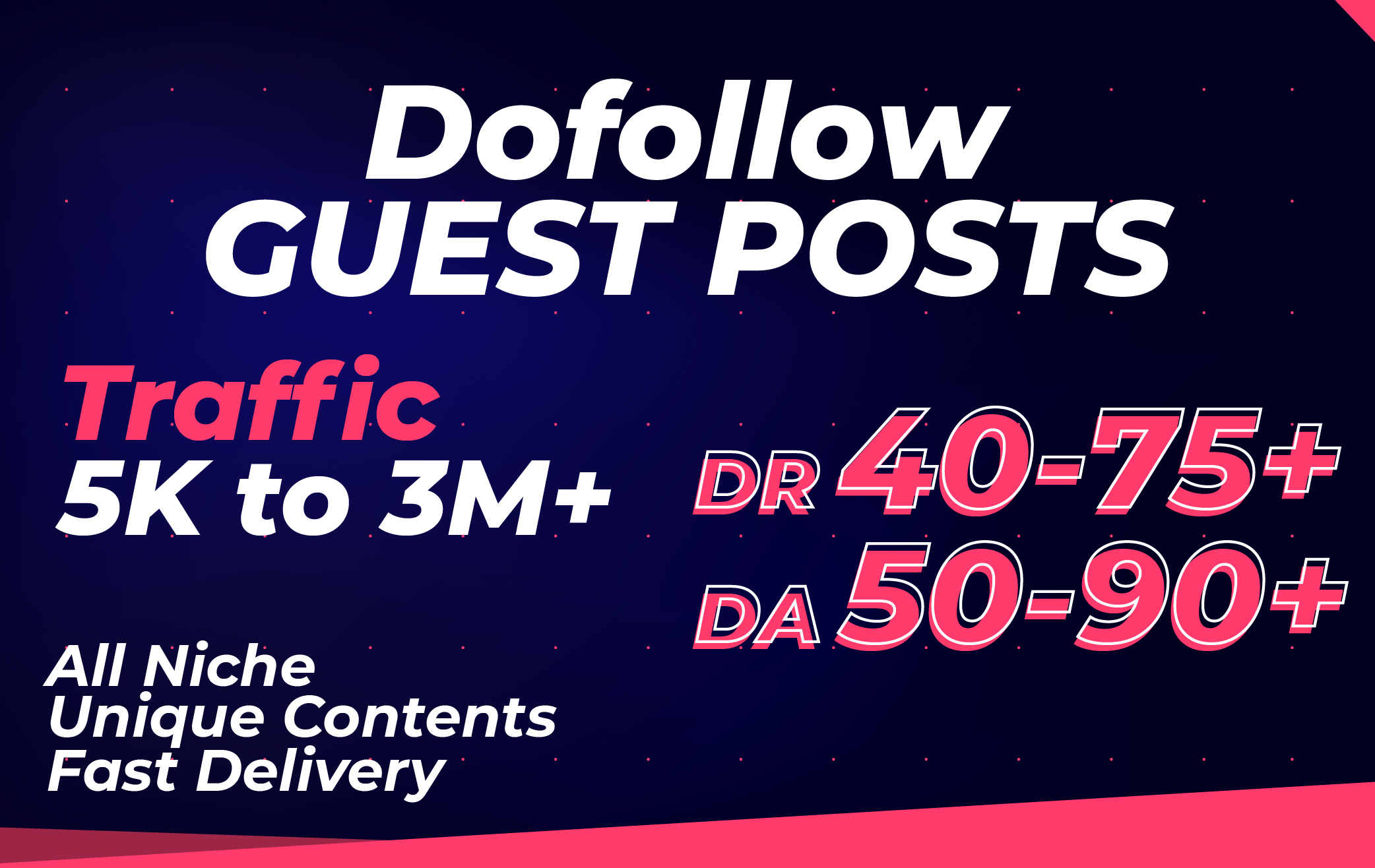 Publish 10 Guest Posts Da 50 to 90 with Dofollow Backlinks
