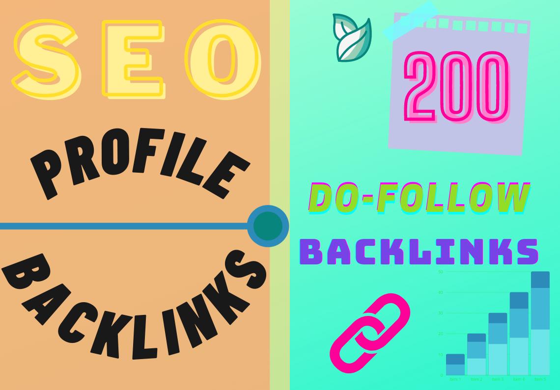 200 Do-Follow Profile Backlinks HQ DA 70+ Manually Create-2021