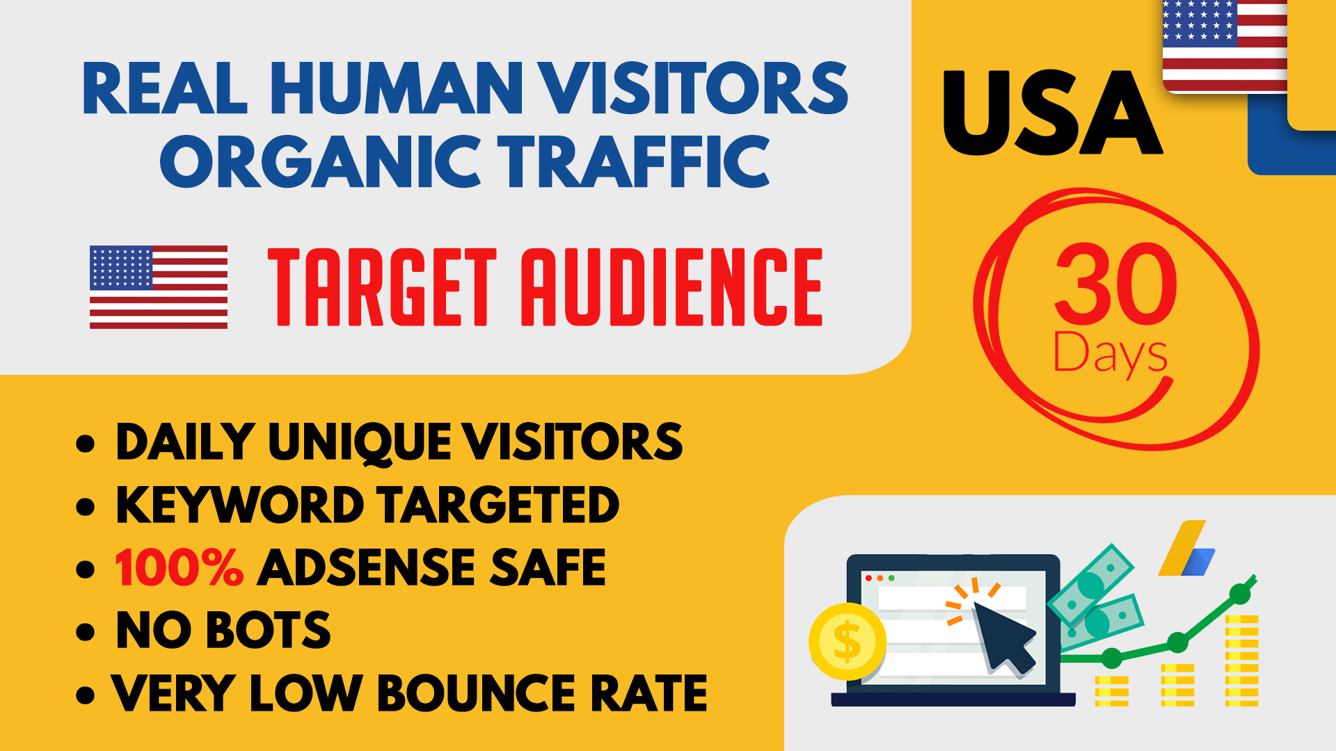 Bring Real Human visitors from USA to Boost your Website Rankings