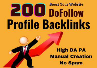 High Quality 200 SEO Profile Backlinks To Rank Up Website
