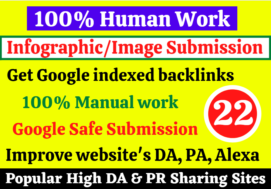 Get Manual 22 Google Safe Infographic or Image Submission Backlinks High DA 80+ sites to Rank Faster