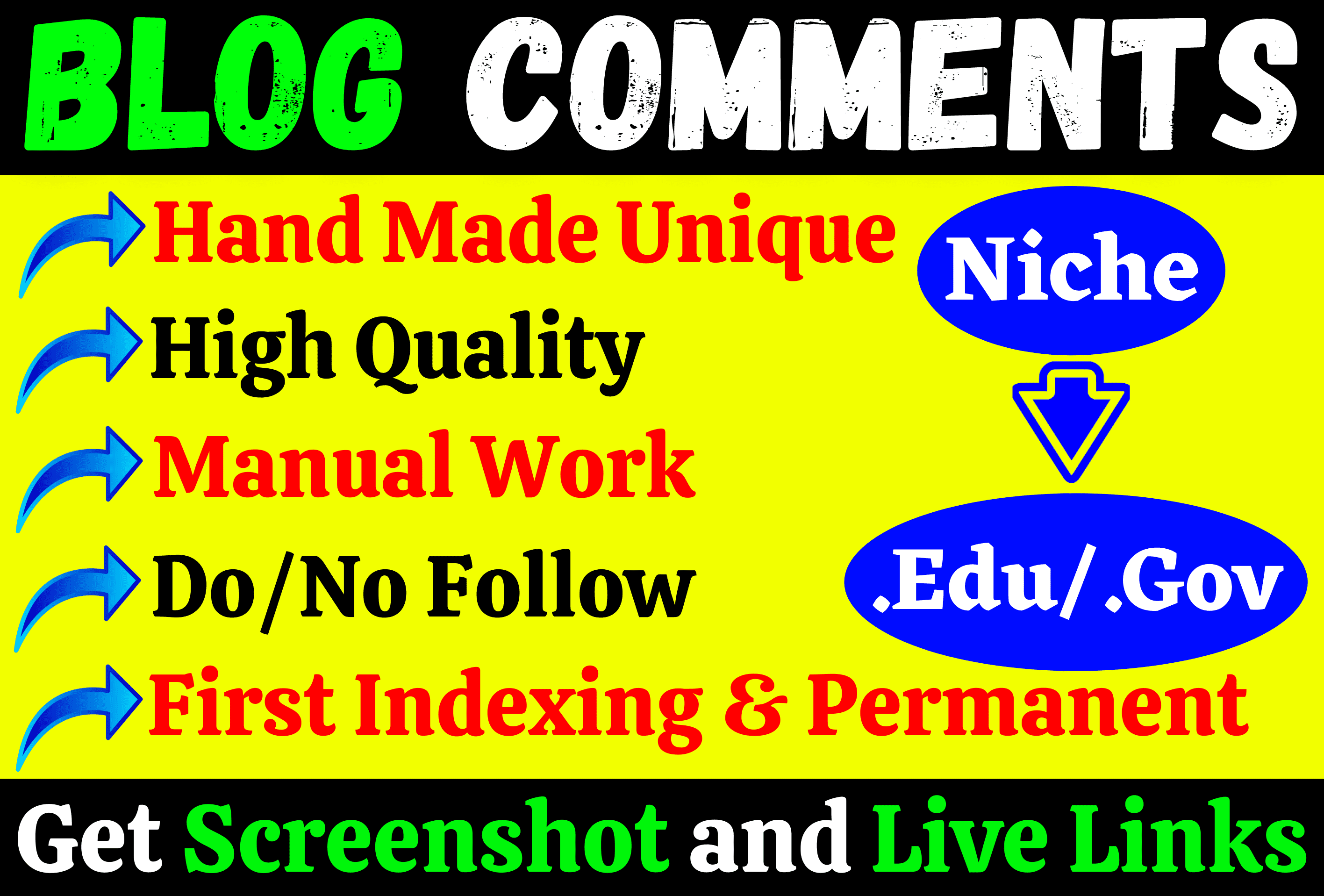 Manually Create 10 Edu/Gov comments+ 200 SEO Niche Do Follow Blog comments for Ranking no 1 quickly