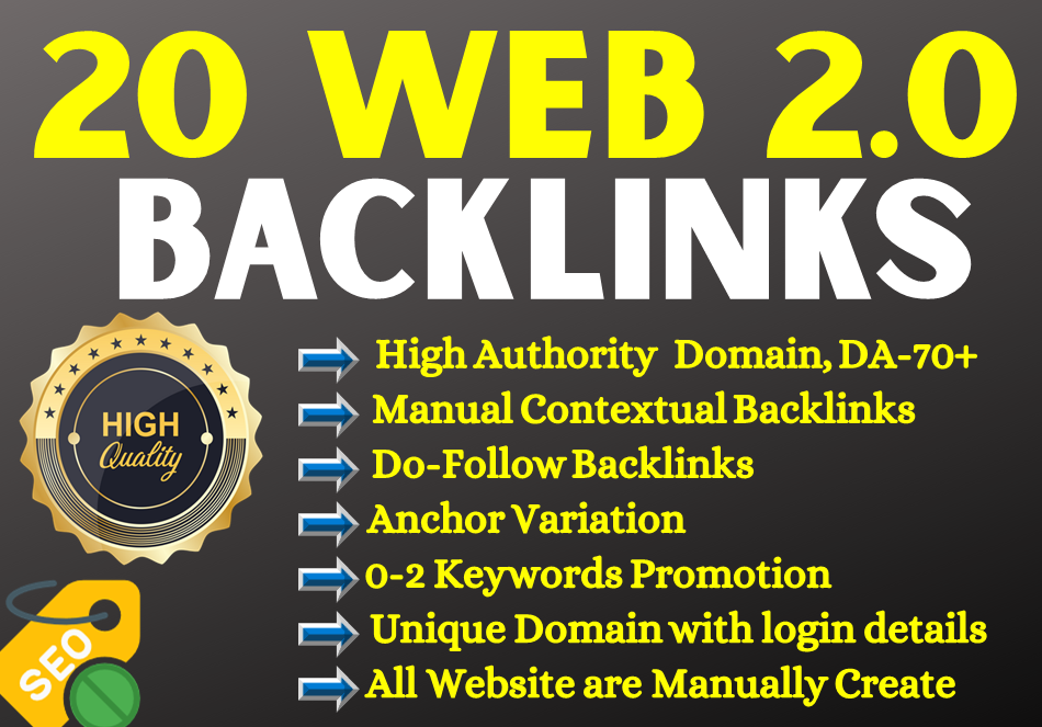 20 Web 2.0 SEO Backlinks which I will create unique domain+Websites
