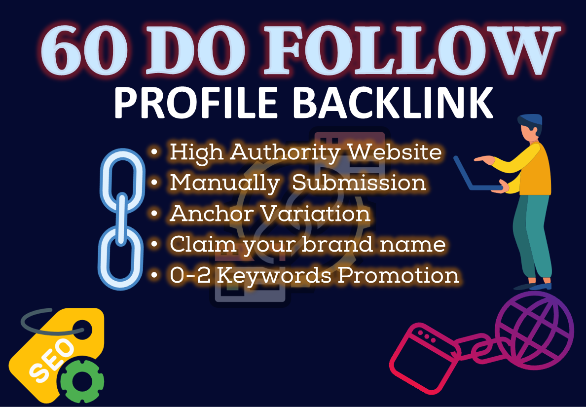 60 Do Follow High DA70+ Social Profile Backlinks-2021