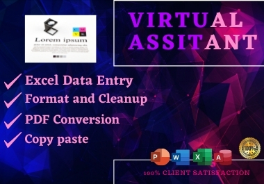 I will be your Virtual Assistant for data entry, typing, copy paste and web research