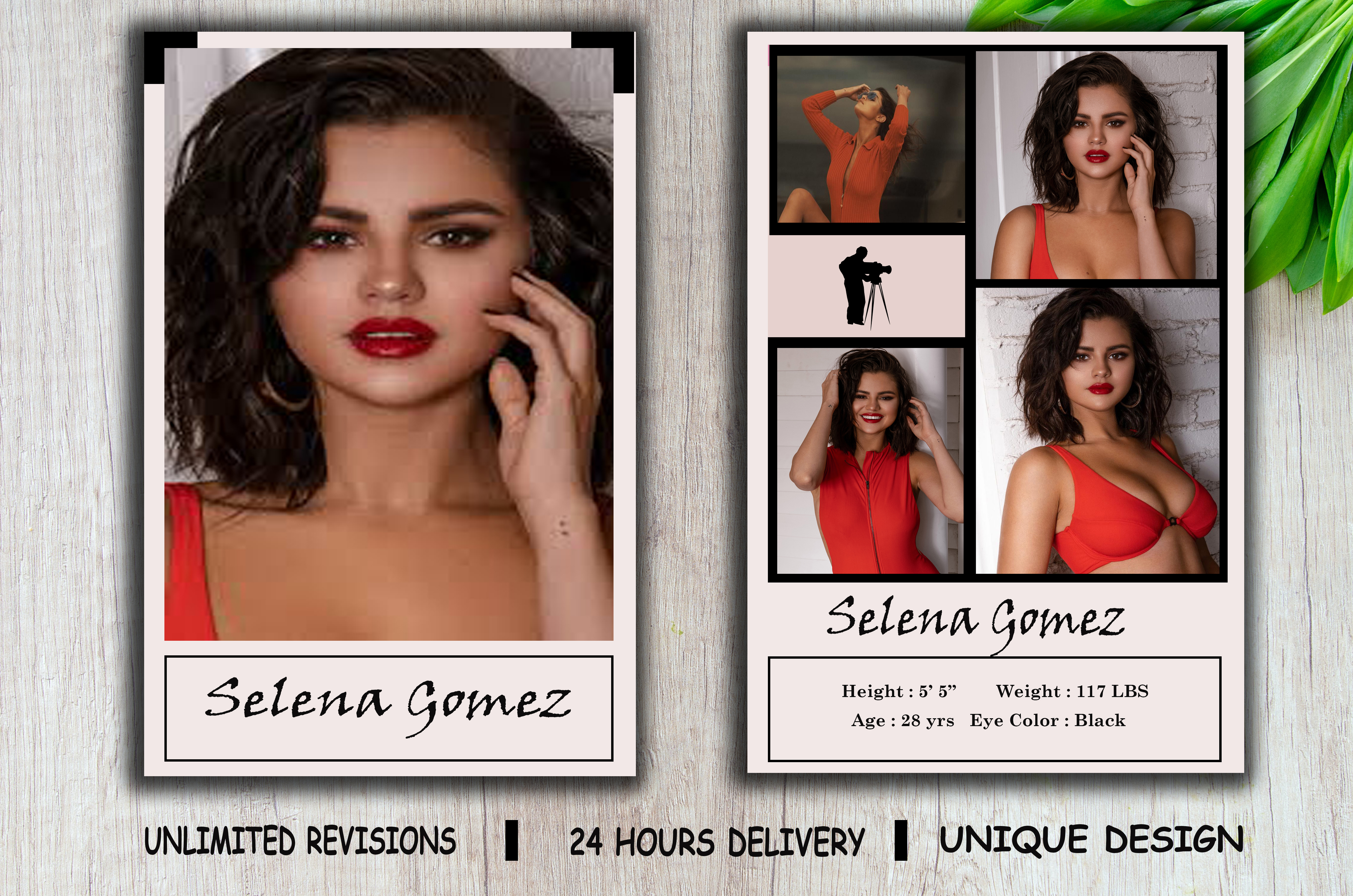 I will design professional model comp card within 24 hours