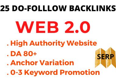 25 DO-FOLLOW DA 80+ WEB 2.0 Backlinks on SEO Ranking