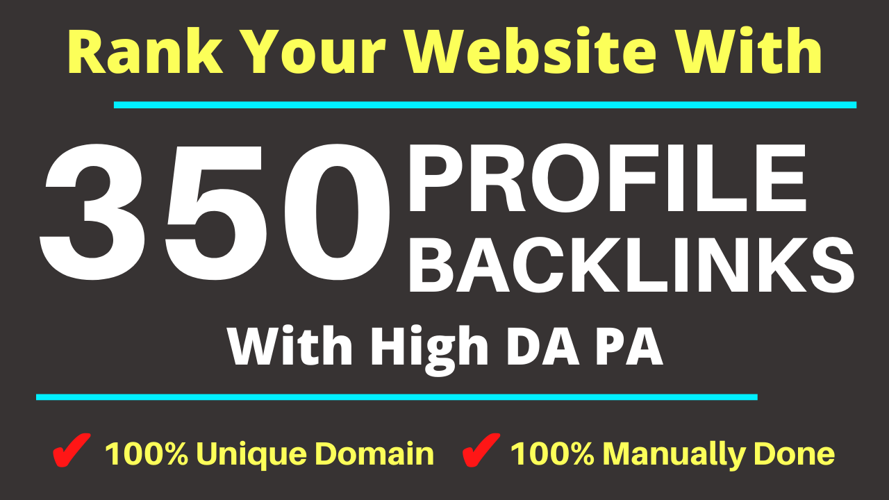 Manually DA 80+ All PR9 350 Safe High authority Dofollow Profile Backlinks to Increase Your Ranking