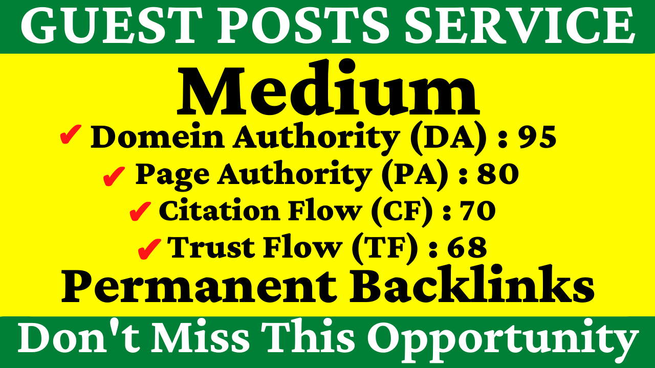 Write And Publish A Guest Post On Medium DA 95,  PA 80 With Permanent Backlinks