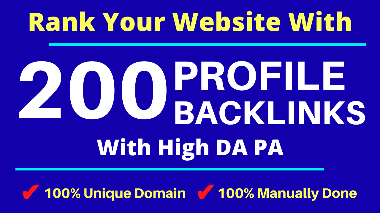 Manually DA 80+ All PR9 200 Safe High authority Dofollow Profile Backlinks to Increase Your Ranking