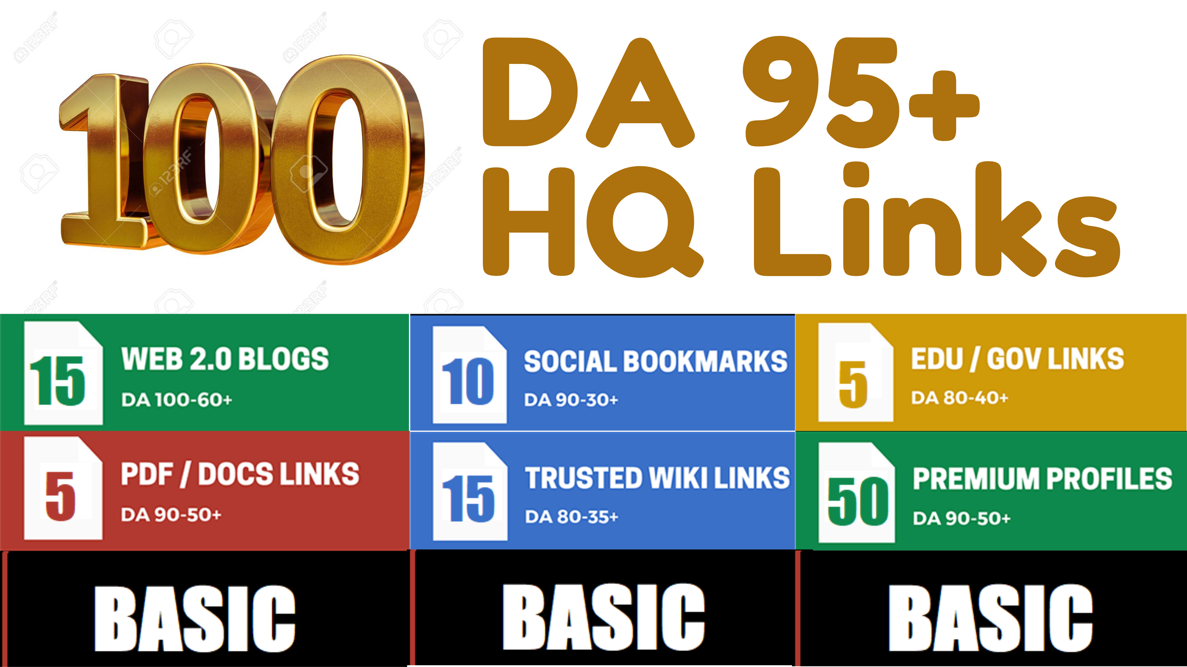 I will 100+ High DA 90+ HQ Links to RANK your website by boosting your web authority