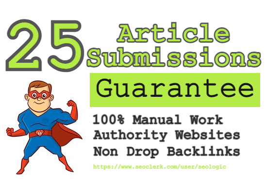 create top 25 High authority article submission backlinks