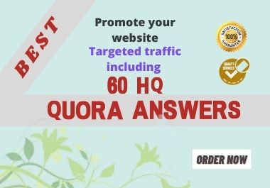 I will promote your website by HQ 60 Quora Answers