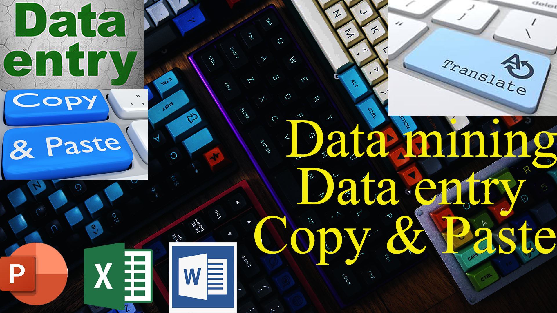 i will do data entry, translate, typing and Microsoft word, excel, powerpoint